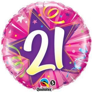 "Age 21 Pink Shining Star  18"" Foil Balloon"
